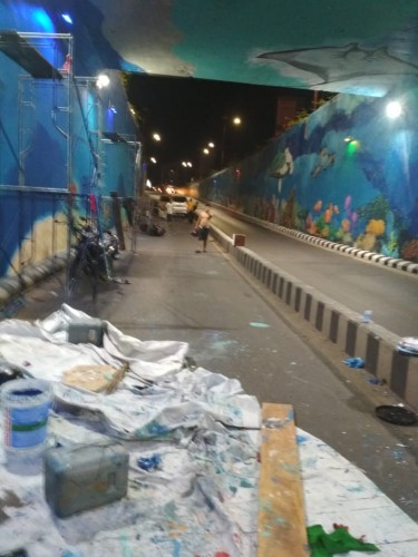 Pengerjaan Lukisan Underpass Unila Disetop Sementara