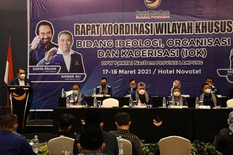 Penguatan Struktur dan Digitalisasi Jadi Topik Utama Rakorwilsus NasDem Lampung