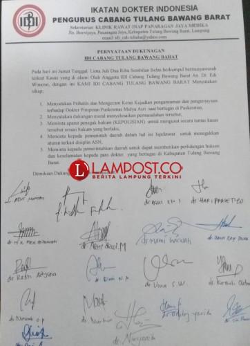 Pengurus Cabang IDI Tubaba Keluarkan Pernyataan Sikap Kasus Pemukulan