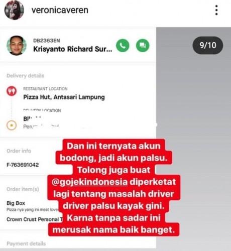Penipu Veronica Bukan Mitra Gojek Lampung