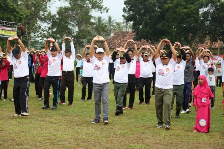 Peringatan HUT Bhayangkara di Lamtim, Ribuan Peserta Ikuti Olahraga Bersama