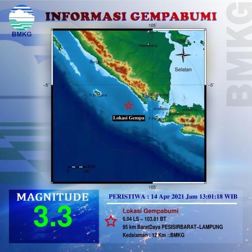 Pesisir Barat Diguncang Gempa 3,3 Magnitudo