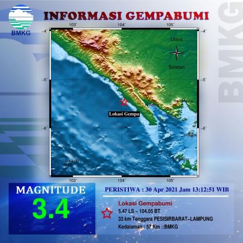 Pesisir Barat Diguncang Gempa 3,4 Mag