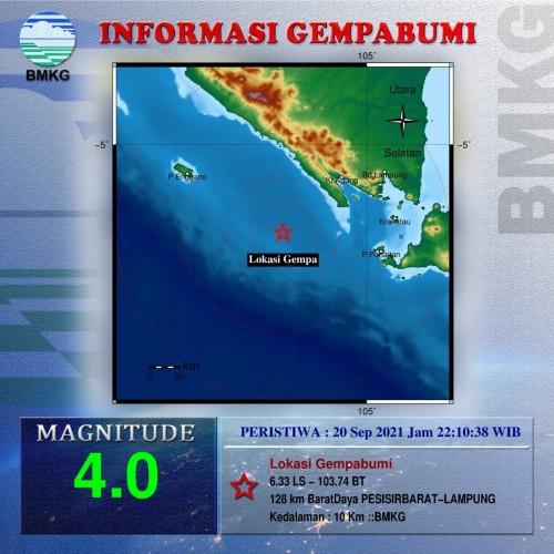 Pesisir Barat Diguncang Gempa 4,0 Magnitudo