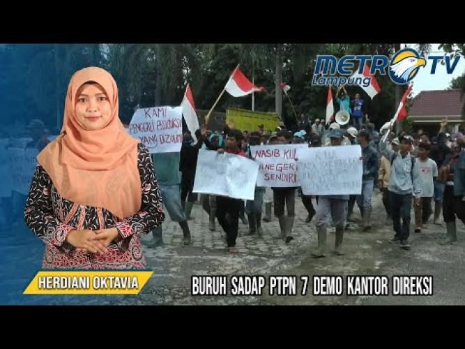 PHK Massal, Buruh Karet Lakukan Demo di Kantor PTPN 7 Bandar Lampung