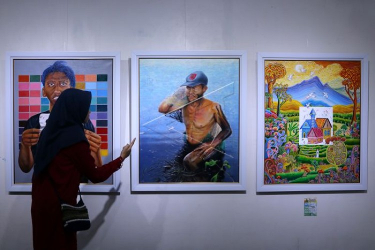 Polda Gelar Pameran 100 Lukisan, 9 Bakal Dilelang Untuk Veteran