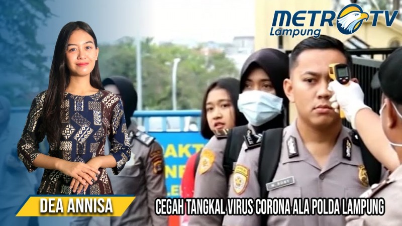 Polda Lampung Cek Suhu Anggota sebelum Memasuki Markas Polda