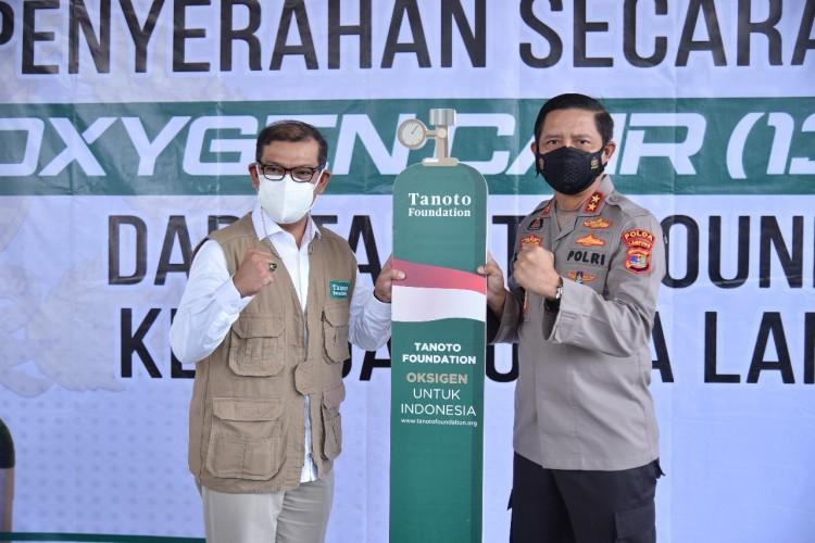 Polda Lampung Dapat Bantuan 13,5 Ton Oksigen Liquid Dari Tanoto Foundation