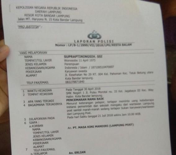 Polisi Minta Saksi Tak Takut Beri Keterangan Soal Dugaan Pencemaran Nama Baik Lampung Post