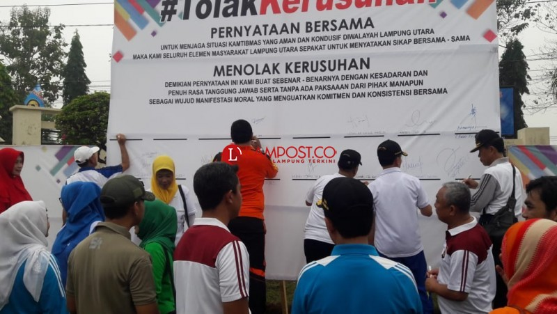 Polres Lampura Bersama Masyarakat Gelar Deklarasi Tolak Kerusuhan
