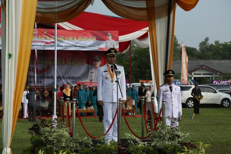 Polres Lampung Utara Gelar UpacaraHUT Ke-73 Bhayangkara
