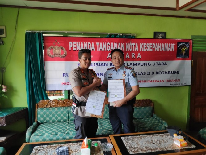 Polres Lampung Utara-Rutan Kelas II B Kotabumi Teken Kerja Sama