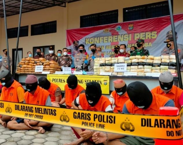 Polres Lamsel Cegat Kiriman 73 Kg Sabu dan Ribuan Butir Ekstasi ke Jawa