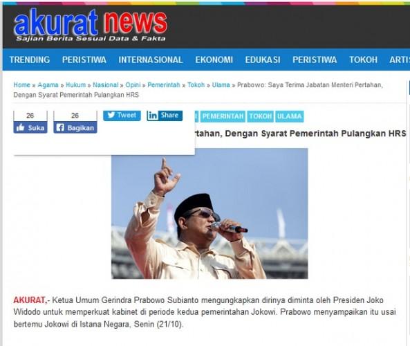 Prabowo Bersedia Jadi Menhan dengan Syarat Pemerintah Pulangkan Rizieq Shihab?
