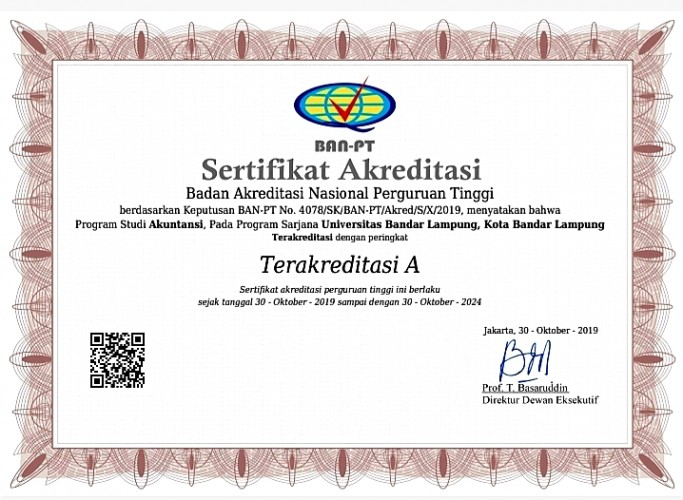 Program Studi Akuntansi UBL Raih Akreditasi A