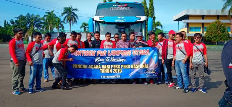PWI Lampung Utara Berangkat ke Surabaya Hadiri Hari Pers Nasional