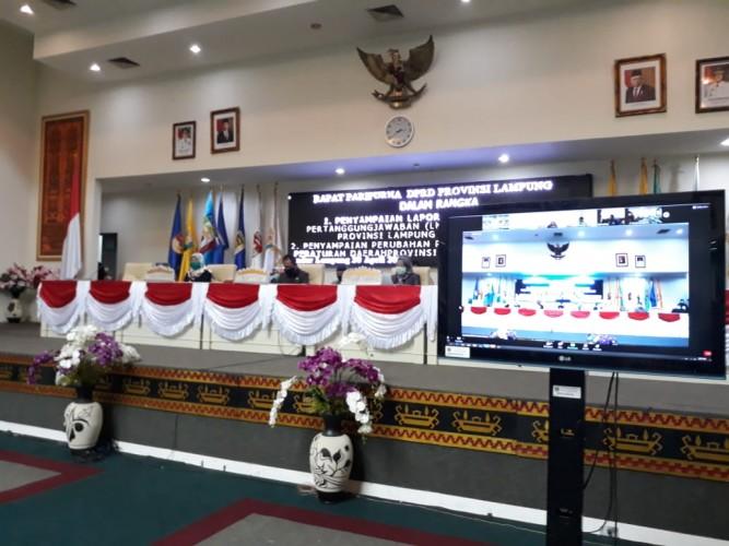 Rapat Paripurna DPRD Lampung Lewat Virtual Meeting