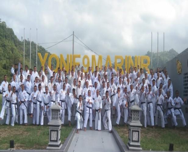 Ratusan Prajurit Yonif 9 Marinir Sandang Sabuk Hitam Karate