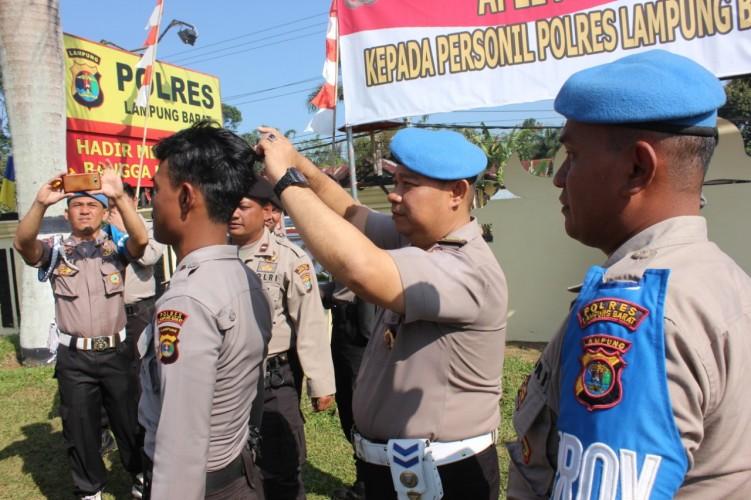 Razia Tertib dan Disiplin, Sejumlah Anggota Polres Lambar Kena Pangkas Rambut