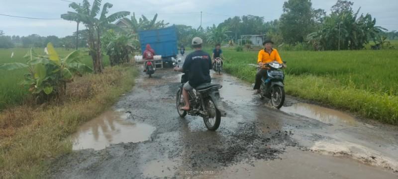 Ruas Jalan Kalirejo-Bumidaya Dipenuhi Kubangan karena Diguyur Hujan