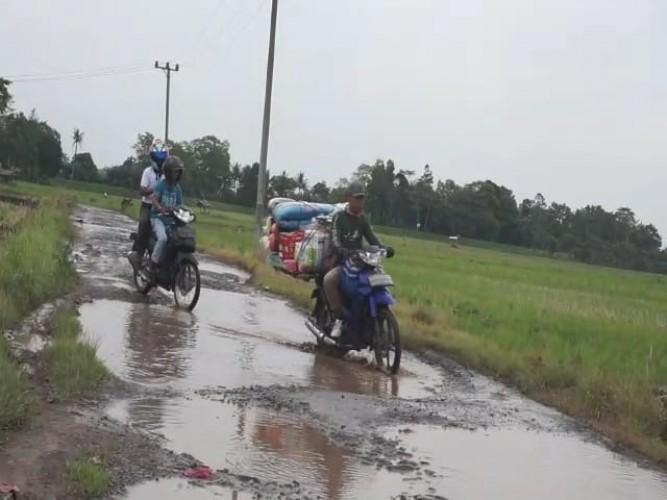 Ruas Jalan Sukamulya-Pematangbaru Dipenuhi Lubang