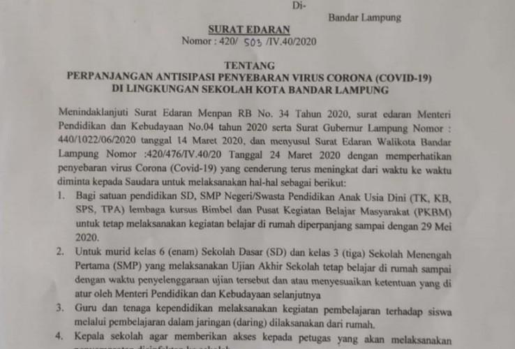 Sekolah di Bandar Lampung Perpanjang Libur Hingga 29 Mei