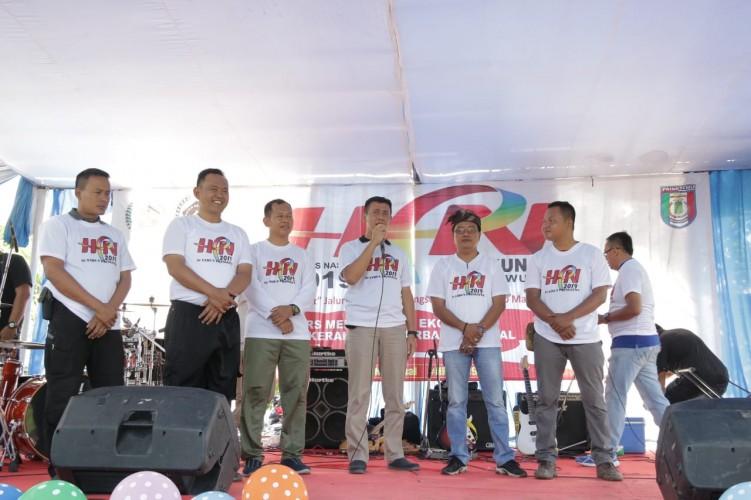 Senam Bersama dan Pemotongan Tumpeng Jadi Puncak Perayaan HPN di Pringsewu