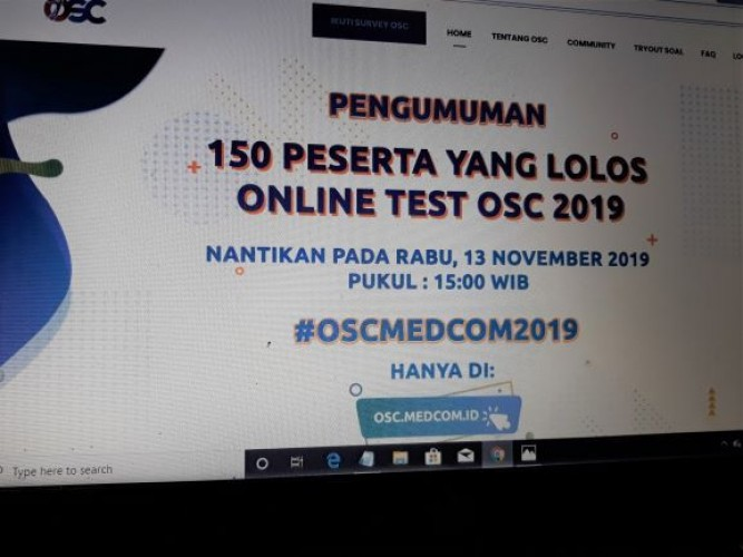 Sore Ini, Hasil Tes Online Beasiswa OSC Diumumkan