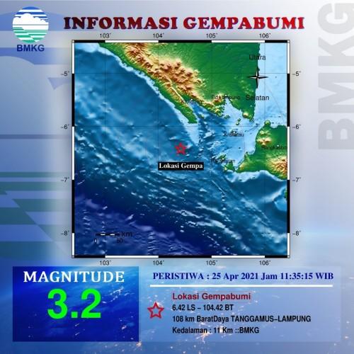 Tanggamus Diguncang Gempa 3,2 Magnitudo
