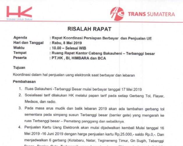 Tarif Tol Bakauheni-Terbanggi Besar Berbayar Tunggu Keputusan Kementerian PUPR