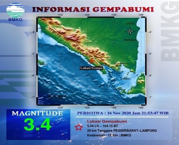Tenggara Pesisir Barat Diguncang Gempa 3,4 Mag
