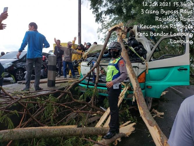 Tertimpa Pohon dan Mobil Ringsek, Sopir Dibawa ke Rumah Sakit