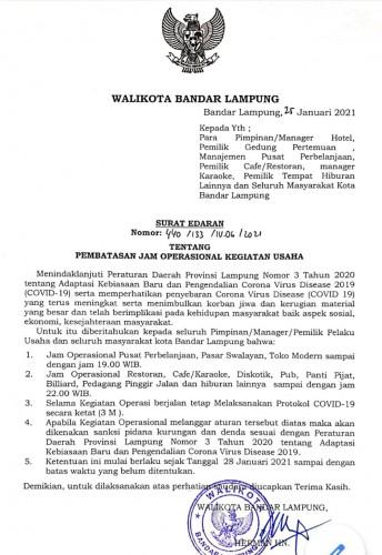 Waktu Kegiatan Usaha di Bandar Lampung Dibatasi, Pelanggar Sidang Ditempat