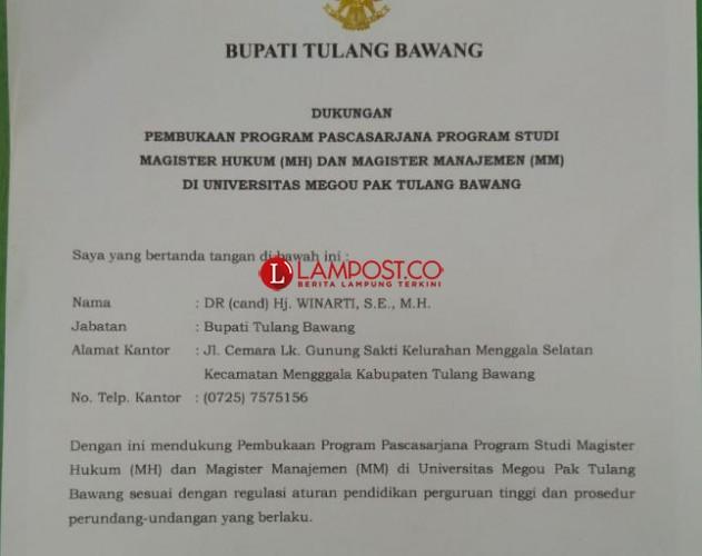 Winarti Dukung UMPTB Buka Program Magister Hukum dan Manajemen