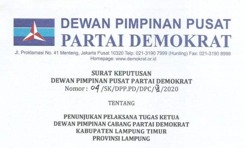 Demokrat Tunjuk Yandri Jadi Plt Ketua DPC Lamtim